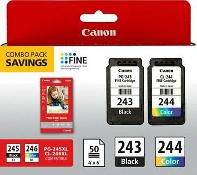 Canon PG-243 and CL-244 Bulk Packaging Black and Color Genuine Ink Cartridges
