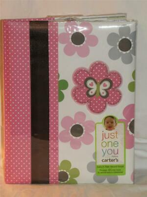 New CARTER'S Baby Girl's JUNGLE ANIMALS & Flowers 76 Page Keepsake Memory Book