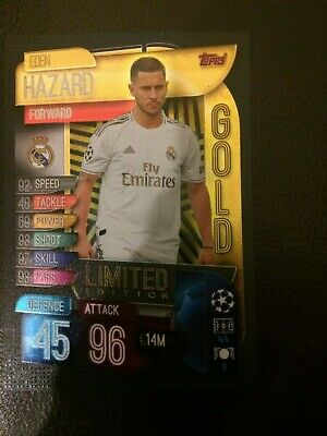 Match Attax 2019/20 Eden Hazard Gold Limited Edition Le3G Mint