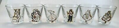 Lot (6) VINTAGE GLASS SHOT GLASSES! Pictures of Ladies, Women, Dancers, Skiers