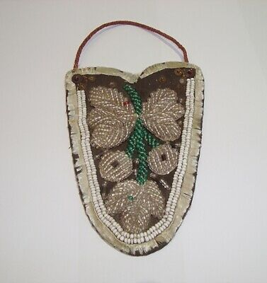 Antique Native American Indian Beaded Bead Embroidery Pouch Bag Or Purse