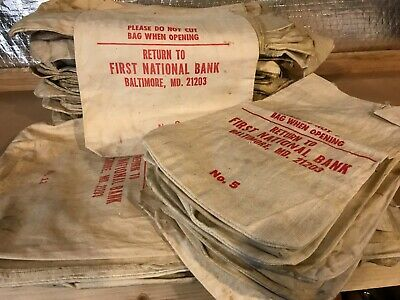 Lot (104) VINTAGE CANVAS BANK COIN BAGS First National Baltimore, MD! Varied Szs