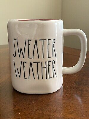 Rae Dunn 'SWEATER WEATHER' Mug Red Inside LL Farmhouse by Magenta. HTF