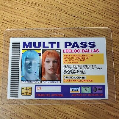 Fifth Element ID Badge-Multi Pass Leeloo Dallas cosplay costume prop