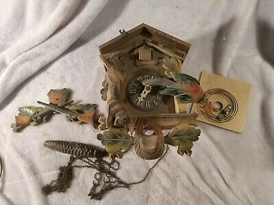 Vintage Albert Schwab Regula Cuckoo Clock Black Forest Germany as broken parts
