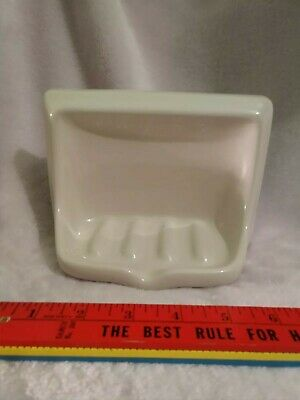 Vintage off white Gloss Ceramic Wall Mount Soap Dish Tray Holder Porcelain new