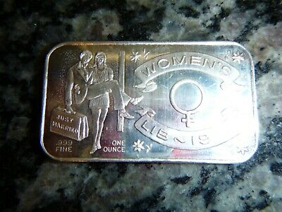 PURE SILVER* SOLID 1 TROY OZ VINTAGE ART BAR* 1973 Womens LIB Just Married