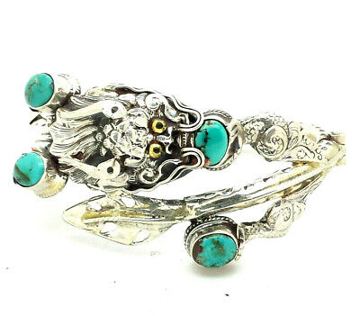 """Chinese Export Dragon Turquoise Sterling Silver 925 Bracelet 38g 6.5"""" HAN987"""