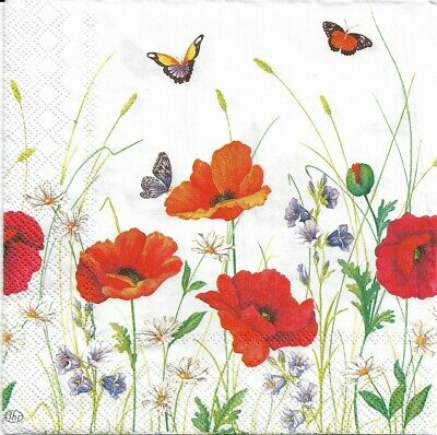 Lot de 4 Serviettes en papier Champ Coquelicots Decoupage Collage Decopatch