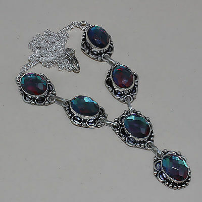 NWT Art Deco Style Rainbow Topaz Silver Necklace 18 inches Gift