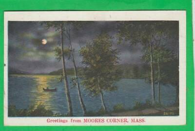 Postcard ~ Moonlight greetings from Moore's corner MA ~ Vintage 9177