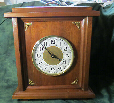 Wooden Mantel Clock, AA Battery, Back opens into Secret Compartment, See Pics!
