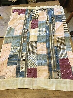 Moprimitivepast AAFA antique early doll quilt old blues original size primitive