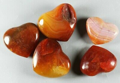 5 Pcs Natural Colorful Red Orange White Carnelian Agate Heart Stone Healing