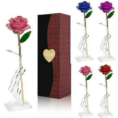 24k Gold Plated Rose Flower Mothers Day Girlfriend Romantic Gift Multi-color