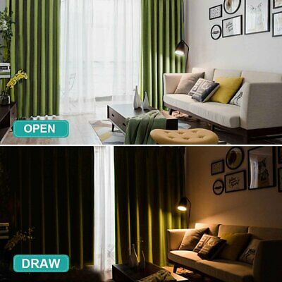 Thermal Blackout Pencil Pleat Ready Made  Green Curtains -Blockout Energyving