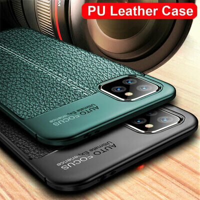 For iPhone 11 Pro Max X TPU Leather Case Silicone Rubber Texture Soft Back Cover