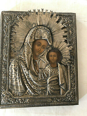 ANTIQUE 19th CENTURY RUSSIAN ORTHODOX CHRISTIAN ICON MOTHER AND CHILD w SILVER