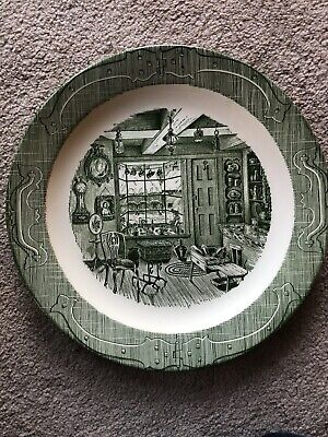 """Royal China THE OLD CURIOSITY SHOP GREEN Dinner Plate(s) 10"""" CRAZED"""