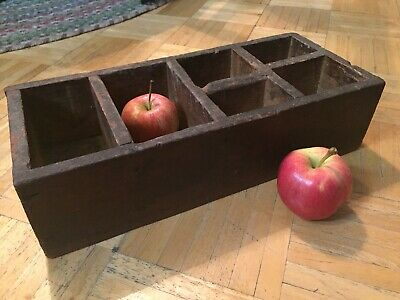 18th / 19th Century Seed/ Storage Box W Divided Interior & Square Nails Unusual