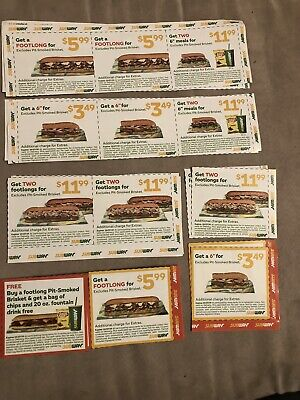 Subway Restaurant 12 Coupons