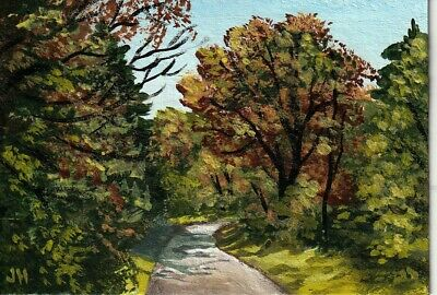 "aceo original acrylic painting  ""A Path through Autumn Trees"" by J. Hutson"