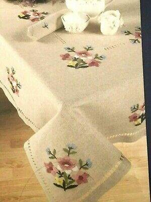 """Herrschners FLORAL GARDEN Stamped Embroidery Tablecloth kit 52"""" x 70"""" with Floss"""