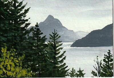 "aceo original acrylic painting  ""Misty Mountain View"" by J. Hutson"