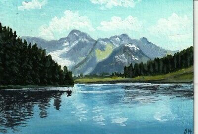 "aceo original acrylic painting  ""Wide Mountain River"" by J. Hutson"