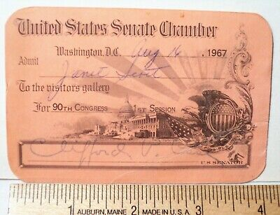 Vintage 1967 US  Senate Chamber signed Pass Senator Clifford P. Case-N.J.