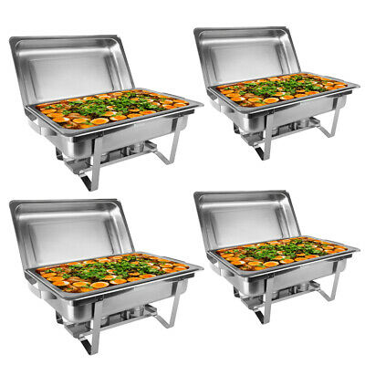 4 Pack Catering Stainless Steel Chafer Chafing Dish Sets 9L/8Qt Full Size Buffet