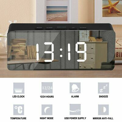 Alarm Clock Digital LED Display Portable Modern USB/Battery Operated Mirror