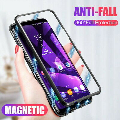 For Samsung Galaxy A70 A50 A40 A20S S9 360° Magnetic Metal Flip Case Glass Cover