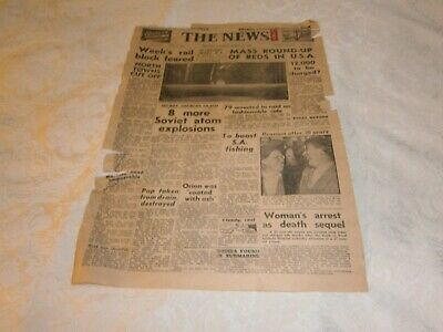 Vintage Newspaper Front Page The News Adelaide: Saturday 18 March 1950 - Rare