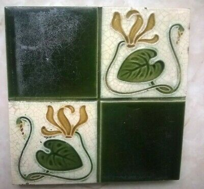 Victorian Art Nouveau Hand Blown Tile Circa1900