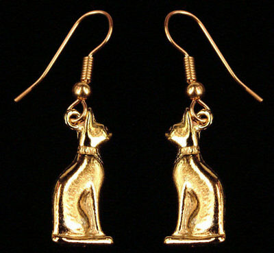 24kt GP Gold Egyptian Bastet Cat Earrings
