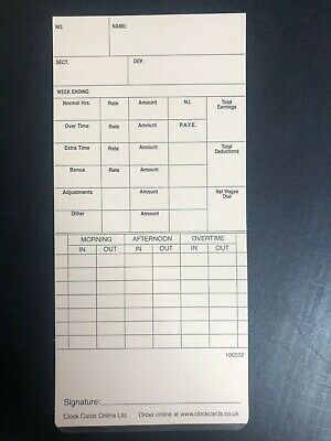 200 x Weekly Clocking In Time Cards type 106532
