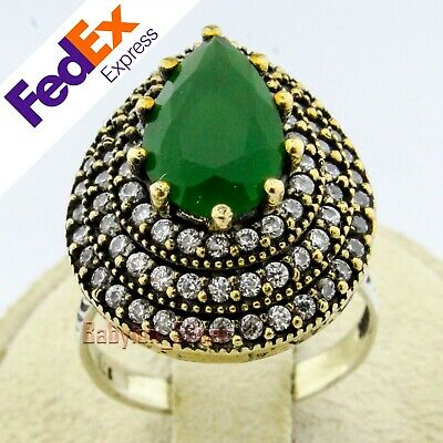 Turkish Hurrem Sultan Jewelry 925 Sterling Silver Emerald Lady/'s Ring All Sizes