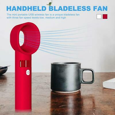 Portable Bladeless Hand Held Cooler USB Cable No Leaf Handy Mini Fan 360 Degrees