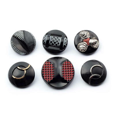 Vintage Czech glass buttons Lot (6) geometric floral lustre hand painted black