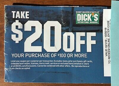 Dick's sporting Goods $20 Off $100 Purchase Exp 10-30-19 — Online Purchases
