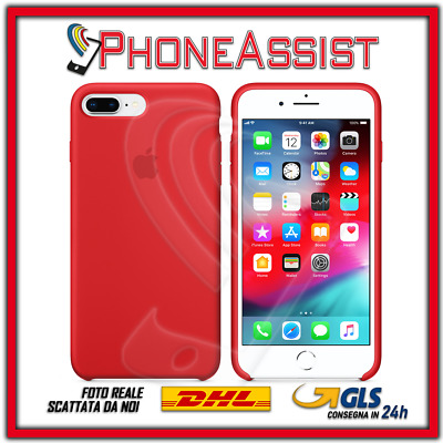 CUSTODIA COVER IN SILICONE per APPLE iPhone 8 Plus ORIGINALE Rosso (Red)