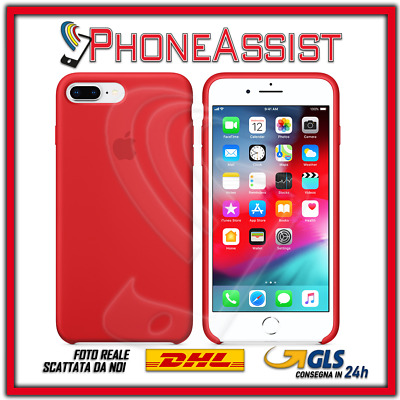 CUSTODIA COVER IN SILICONE per APPLE iPhone 7 Plus ORIGINALE Rosso (Red)