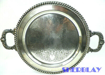 """Antique Silver on Copper Serving Buttlers Tray Round Handles 13"""" Diameter"""