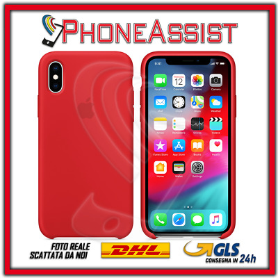CUSTODIA COVER IN SILICONE per APPLE iPhone X ORIGINALE Rosso (Red)