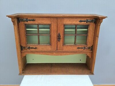 Antique Arts & Crafts Cupboard Victorian Old Wood Wall Hanging Glazed Cabinet