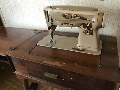 1950s-60s SINGER 503a Slant-O-Matic SEWING MACHINE in CAB *The Rocketeer w/Acc