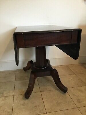 Antique Victorian solid folding table with drawer mahogany.