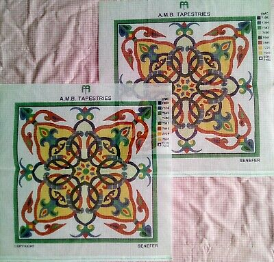 Pair Printed Canvas Needlepoint Tapestry Amb Pattern Large Green Red Yellow