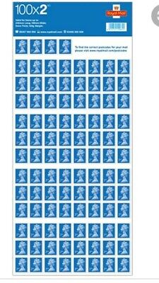 100 x Unfranked, Easy Peel 2nd Class Blue Stamps - Self Adhesive